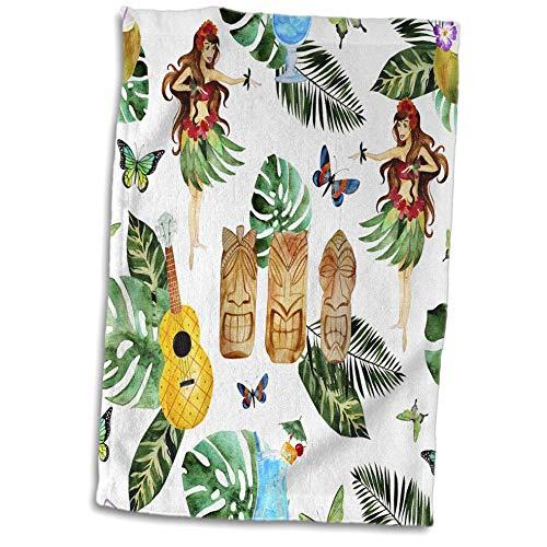 3dRose Anne Marie Baugh - Patterns - Hula Dancers, Tropical Leaves, Tropical Drinks Pattern - 15x22 Hand Towel (TWL_255016_1) - Hula Dancer Pictures