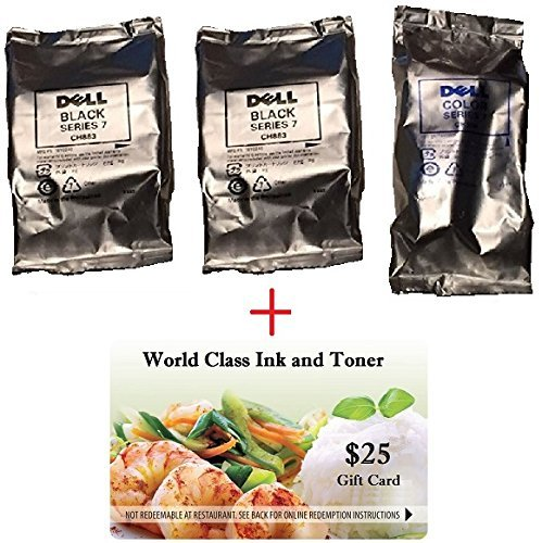 WCI Best Value Pack of Original, Genuine Dell Brand High Yield Series 7 Inks + a FREE $25 Restaurant Gift Card. Contains (2) CH883 Black + (1) CH884 Color + $25 Gift. For Use In: Dell 966/968/968W.