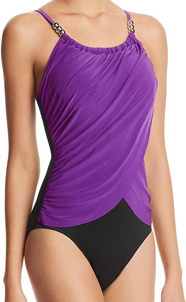 Magicsuit by Miraclesuit Slimming One Piece Swimsuit Ruched Tummy Control High Neck Draped Maillot Purple Black 8