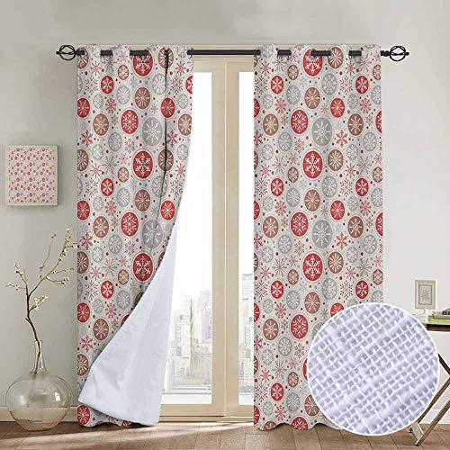 "NUOMANAN Grommet Curtains Christmas,Ornate Snowflakes Pattern in Circles Dots Winter Themed Old Fashioned Print, Ruby Pale Grey,Blackout Draperies for Bedroom Window 84""x84"""