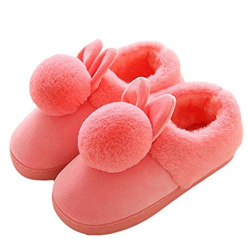 Inverno Donna Caldo Carino Orecchie Pelliccia Palla Casa In Pile Pantofole Antiscivolo Peluche Cartoon Casa Pantofole Rosse