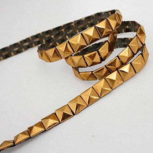 Hot Fix Pyramid Stud Nailhead Trim, Metal iron-on Nailhead Trim by 1-yard, 10mm(3/8''), Matt Gold, (Iron On Nailheads)