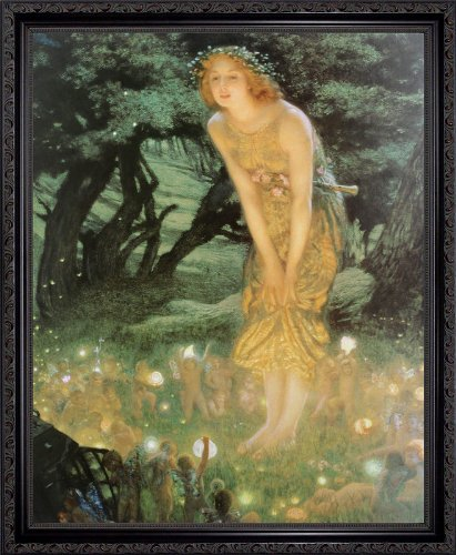 - Midsummer Dream by Edward Robert Hughes Framed Art Print Poster Custom Made Real Wood Dark Mahogany with Black Trim Frame (18 1/8 x 22 1/8)