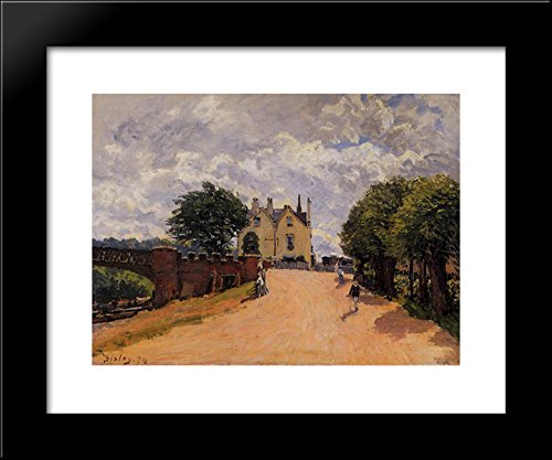 inn-at-east-molesey-with-hampton-court-bridge-20x24-framed-art-print-by-alfred-sisley