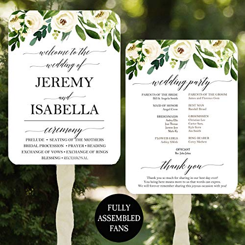 Wedding Program Fans - Elegant Floral in White Collection - 100 Count Assembled -