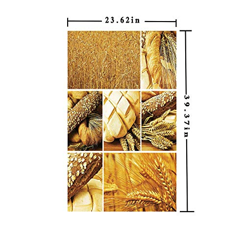 (No Glue Static Cling Window Film decorate by Collage Story Wheat Various Types of Bread Baking Culture Different Crusts Decorative,W15.7xL63in,For Living Room Bathroom Kitchen Front Door with Earth Y)