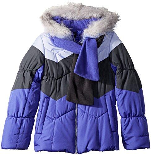 London Fog Girls' Big Color Blocked Puffer Jacket Coat with Scarf, Purple Clash, -