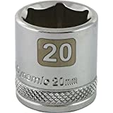 Dynamic Tools 3/8-Inch Drive 6 Point Metric, 20-Millimeter Standard Length, Chrome Finish Socket