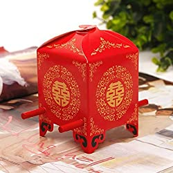 Krismile® 50 Pack Chinese Traditional Red Bridal Sedan Chair Style Wedding Bridal Shower Favor Candy Gift Boxes