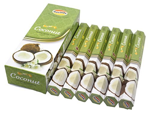 Coconut Incense Sticks - Govinda Incense - Coconut - 120 Incense Sticks, Masala Coated Incense