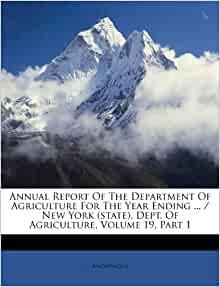 Annual Report Of The Department Of Agriculture For The