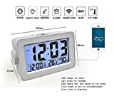 Digital Alarm Clock by DCentral with Temperature and Humidity Displays and USB Port to Charge Phones, Tablets, etc. Three Level Dimmable Backlight with Night Sensor