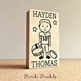Personalized Football Rubber Stamp, Children's Football Stamp - Choose Hairstyle and Accessories