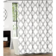 Max Studio Home Shower Curtain Moroccan Tile Quatrefoil Gray and White Lattice,70x72inch
