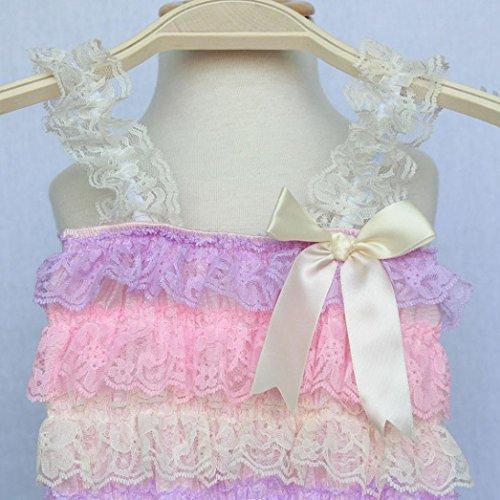Tefamore Neugeborenes Kleinkind Baby Mädchen Spitze Bowknot Strap Striped Jumpsuit Kleidung Lila