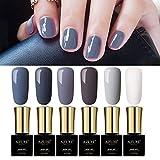 Gray Colors Gel Nail Polish Set UV LED Azure Beauty Nude Colors Gel Polish 6pcs