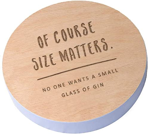 Birthday Gifts for Her Funny Wine Gifts for Women Size Matters Wooden Wine Coaster