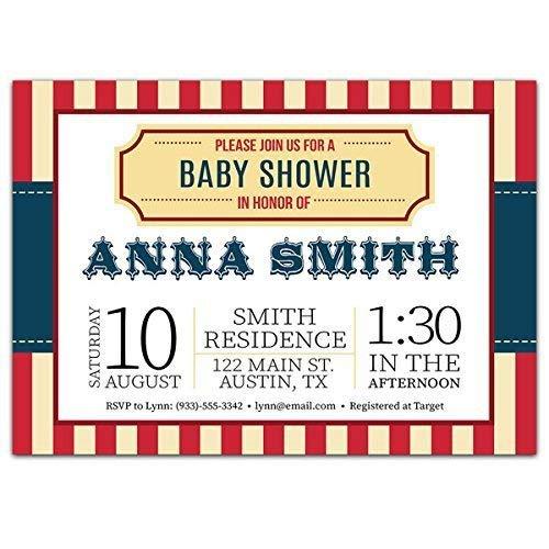 Amazon Com Ticket Carnival Baby Shower Party Invitations Handmade