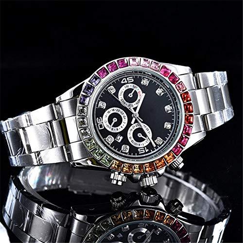 - Diamond Bangle Bracelet Relogio Masculino Mens Gold Watches Luxury Brand Fashion Black Dial Full Diamond Watch Men Wristwatch New Tag Quartz Clock