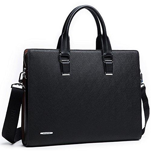 [BOSTANTEN Formal Leather Briefcase Shoulder Laptop Business Bag for Men Black] (Leather Nylon Briefcase)