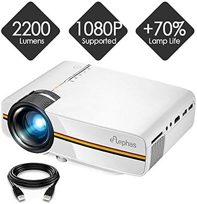 Elephas - Mini proyector LED (1080P HD, para HDMI, VGA, AV, USB y ...
