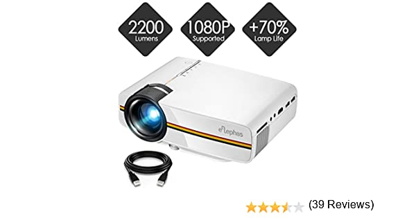 Proyector, Elephas LED Mini proyector Soporta 1080P HD 2200 ...