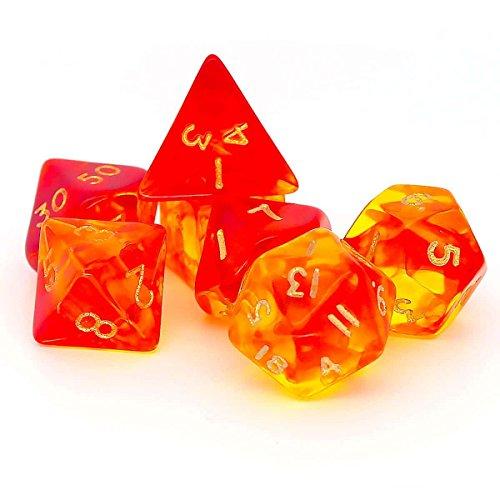 Gem Blitz Set, 7 Polyhedron Dice D4 D6 D8 D10 D12 D20 (Gem Dice Set)