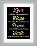 Love Hope Peace Faith 4 by Louise Carey Framed Art Print Wall Picture, Flat Silver Frame, 23 x 28 inches