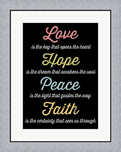 Love Hope Peace Faith 4 by Louise Carey Framed Art Print Wall Picture, Flat Silver Frame, 23 x 28 inches by Great Art Now