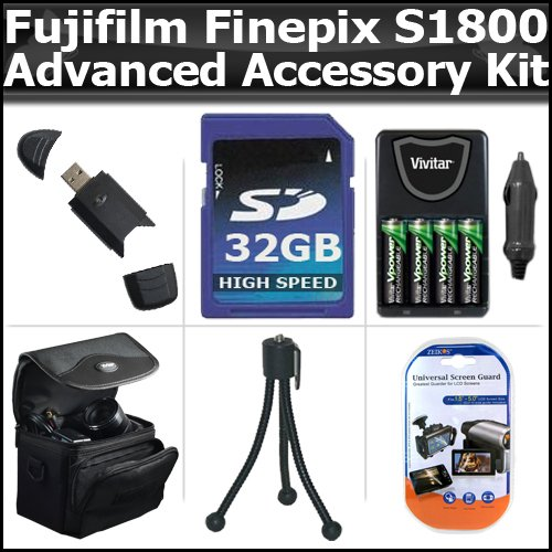 Speed High 150x Card Sd (Advanced Accessory Kit For Fujifilm FinePix S1800 12.2 MP Digital Camera Includes 32GB High Speed SD Memory card + USB 2.0 High Speed Card Reader + 4AA High Capacity Rechargeable NIMH Batteries And AC/DC Rapid Charger + Deluxe Carrying Case + LCD Screen)