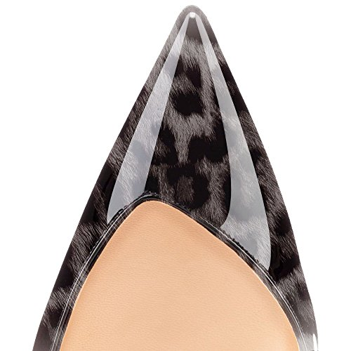 ELASHE Women High Heels Pumps| Sexy Slingback Sandals | Pointed Toe Stiletto | 10cm Court Shoes Leopard-Gray BeBPiJP