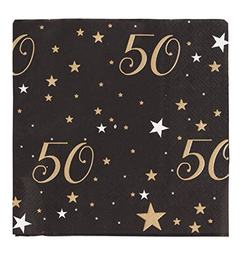 Birthday Party Dinner Napkins - 150 Pack Gold Star Disposable Paper Party Napkins, Perfect for 50th Birthday Party Supplies, Anniversary Decorations, 6.5 x 6.5 Inches Folded, Black