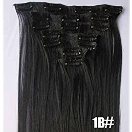 Romantic Angels 14″(35cm) Remy Human Hair Clip in Extensions 6 Pieces/set 50g Natural Black(#1B)
