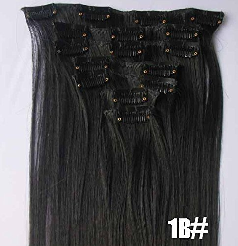 Romantic-Angels-14-100-Remy-Brazilian-Silky-Straight-Human-Hair-Clip-on-in-Extensions-6-Pieces-Set-Color1B-Natural-Black