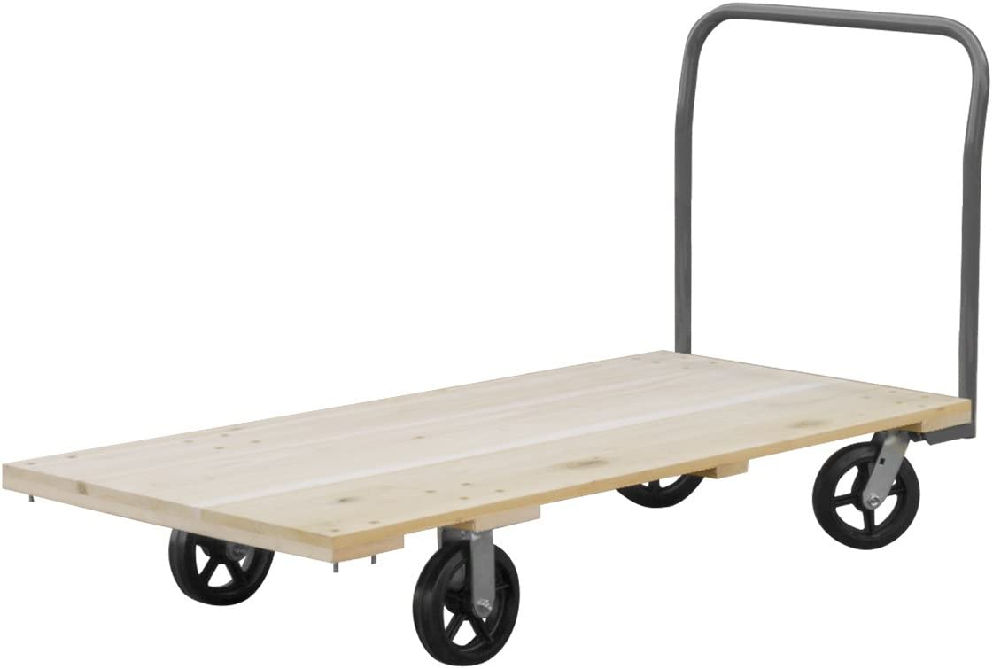 Akro-Mils RPT24485J5M8GY 24-Inch by 48-Inch Industrial Grade Hard Wood Platform Truck with Open Handle and 8-Inch Mold-On Rubber Casters with 1500-Pound capacity