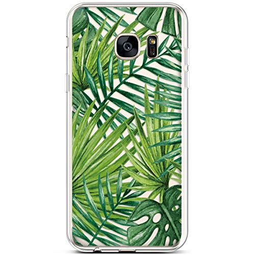 PHEZEN for Samsung Galaxy S7 Case,Clear Soft Flexible TPU Silicone Case Rubber Skin with Art Painted Design Transparent Shockproof TPU Bumper Protective Case for Galaxy S7, Banana leaf