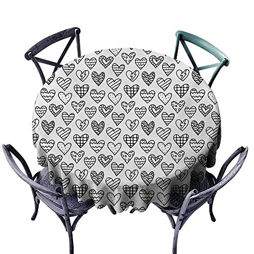VIVIDX Water Table Cloth,Valentine`s Day,Black and White Pattern with Outline Doodle Hearts Romantic Love Theme,Table Cover for Kitchen Dinning Tabletop Decoratio,35 INCH,Black White