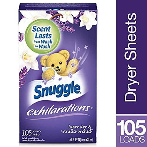 Snuggle Exhilarations Fabric Softener Dryer Sheets, Lavender & Vanilla Orchid, 105 Count, 2 Pack