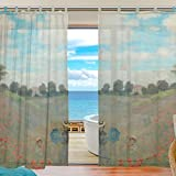 Cheap INGBAGS Bedroom Decor Living Room Decorations Monet Poppies At Argenteuil Pattern Print Tulle Polyester Door Window Gauze / Sheer Curtain Drape Two Panels Set 55×78 inch ,Set of 2