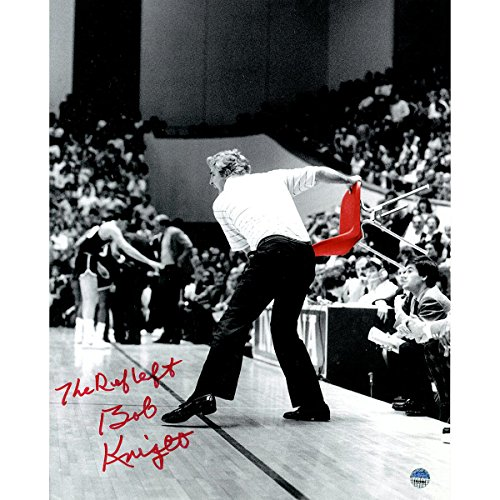 Bob Knight Signed Throwing Chair B&W w Red Chair 8x10 Photo w The Ref Left Insc.