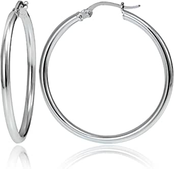 Hoops & Loops - Sterling Silver 2mm High Polished Click Top Hoop Earrings in Sizes 30mm & 35mm   Sterling Silver, Yellow & Rose Gold Flash Plated