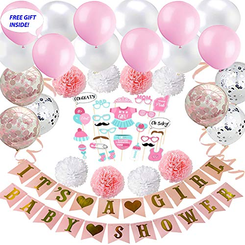 THE DECORATION GALS - Free Gift+All-In-1 Baby Shower Party Decoration Kit For Girls and Boys - Supplies and Decorations (Blue or Pink)