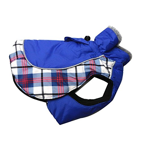 DroolingDog Dog Winter Plaid Coat for Small Dogs Warm Winter British Jacket Outdoor Clothes with Nylon Waterproof and 100% Polyester Fleece Lining Dog Coat for Medium Large Dogs, XXXXL, Blue