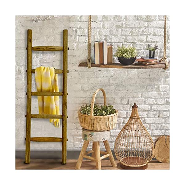 Farmhouse World Blanket Ladder | Handcrafted 5 ft Rustic Decorative Wooden Ladder | Quilt Rack Crafted with Natural…