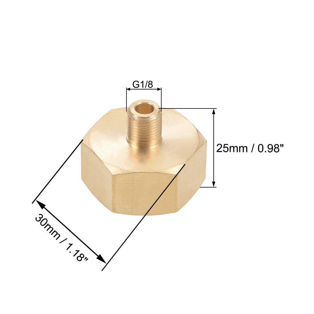 Pipe Fittings Pipe Fitting G1//8 Male x G3//4 Female Hex Bushing Adapter 25mm Length