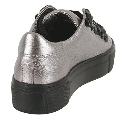 Canile E Schmenger Sneaker Grande In Pelle Di Vitello In Argento Ks-61-20330-537 Alluminio Argento