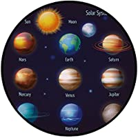 Printing Round Rug,Educational,Solar System Planets and the Sun Pictograms Set Astronomical Colorful Design Mat Non-Slip Soft Entrance Mat Door Floor Rug Area Rug For Chair Living Room,Multicolor