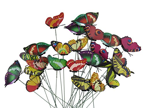 Set of 24 Garden Yard Planter Colorful Whimsical Butterfly Stakes (Yard Stakes)