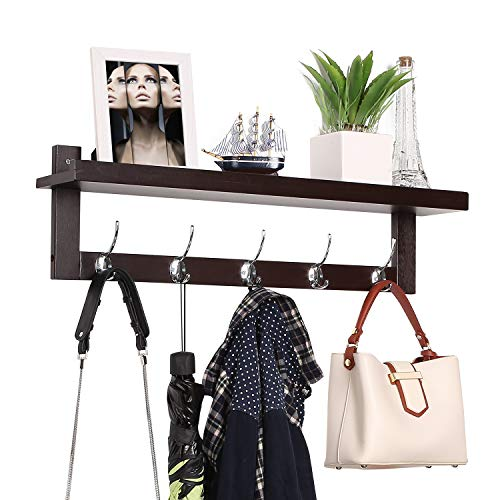 "Homfa Bamboo Entryway Wall Shelf Hanging Shelf 29"" L, Wall-Mounted Coat Hook Rack with 5 Dual Metal Hooks for Hallway, Bathroom, Living Room, Bedroom, Dark Brown"