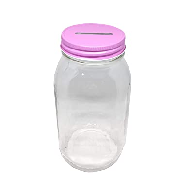 1 Glass Piggy Bank Money Jar with Pink Slotted Lid Regular Mouth Quart Perfect for Girl Baby Shower or Girl Gender Reveal Party. Best Baby Girl Gift. Smooth Sided Mason Jar, Money Saving Jar. (Pink): Home & Kitchen